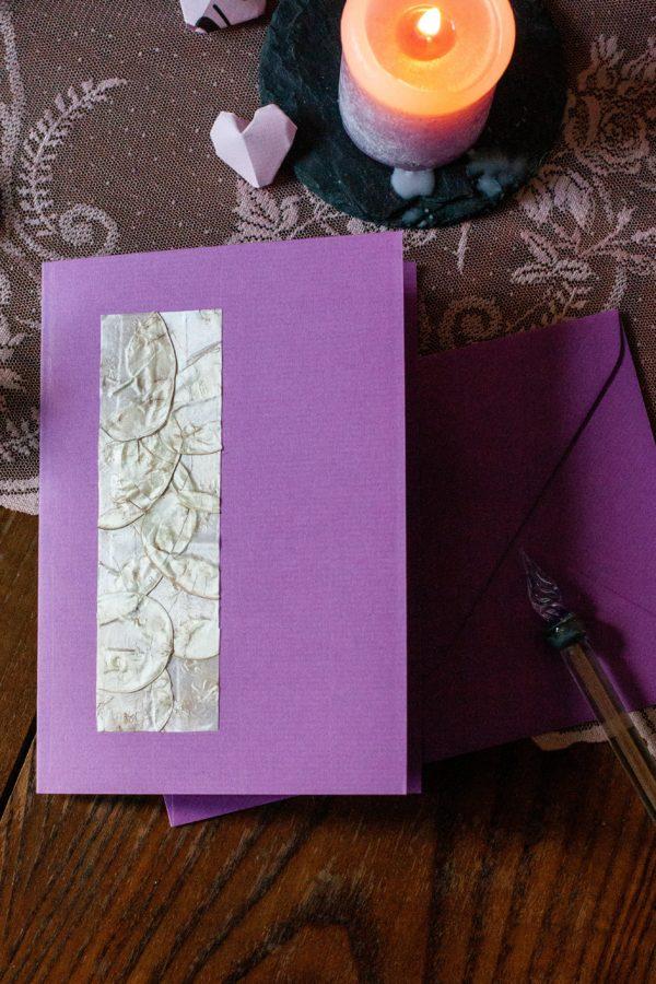 Unikat Grußkarte handgefertigt aus Trockenblumen